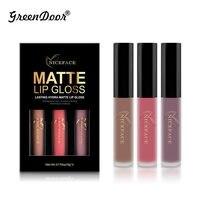 GreenDoor 3pcs Set 12 Colors Lip Gloss Lipstick Lip Paint Matte Liquid Long Lasting Waterproof Cosmetic