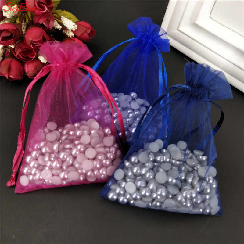 50pcs Organza bag Wedding Birthday Party Tulle Gift Bags A variety of solid pouchs Wedding Supplies white 5z 7x9 10x15 13x18CM