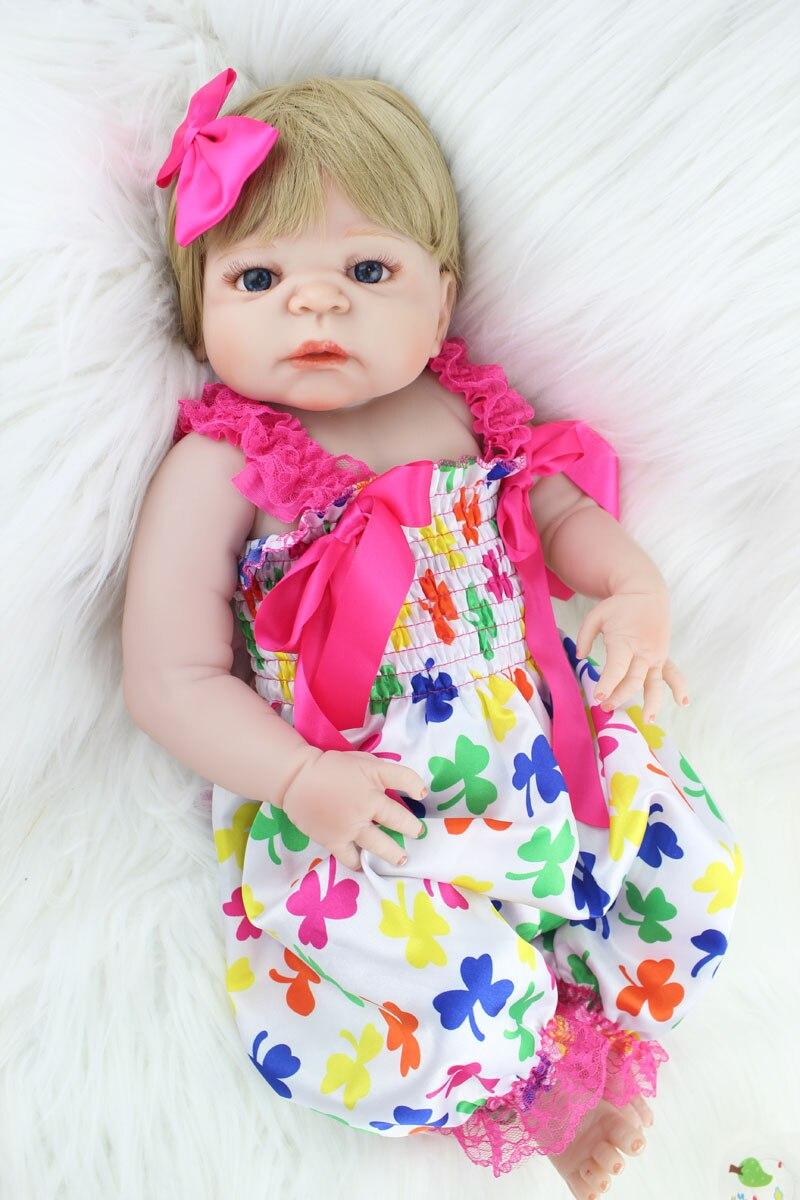 55cm Full body silicone reborn baby girl doll toys lifelike newborn babies doll for sale cheap kids birthday gifts bathe toy