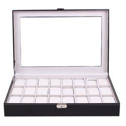 24 griglie di Vetro Trasparente Nero DELL'UNITÀ di elaborazione In Pelle Contenitore di Vigilanza di Monili di Caso di Immagazzinaggio Dell'organizzatore Classico Orologi Display Scrigno