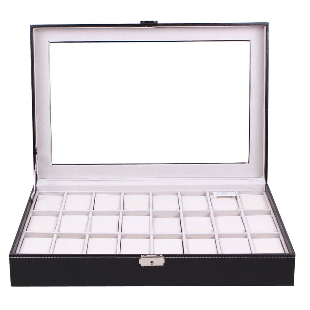 24 grilles en verre Transparent cuir synthétique polyuréthane noir boîte de montre bijoux mallette de rangement organisateur montres classiques vitrine