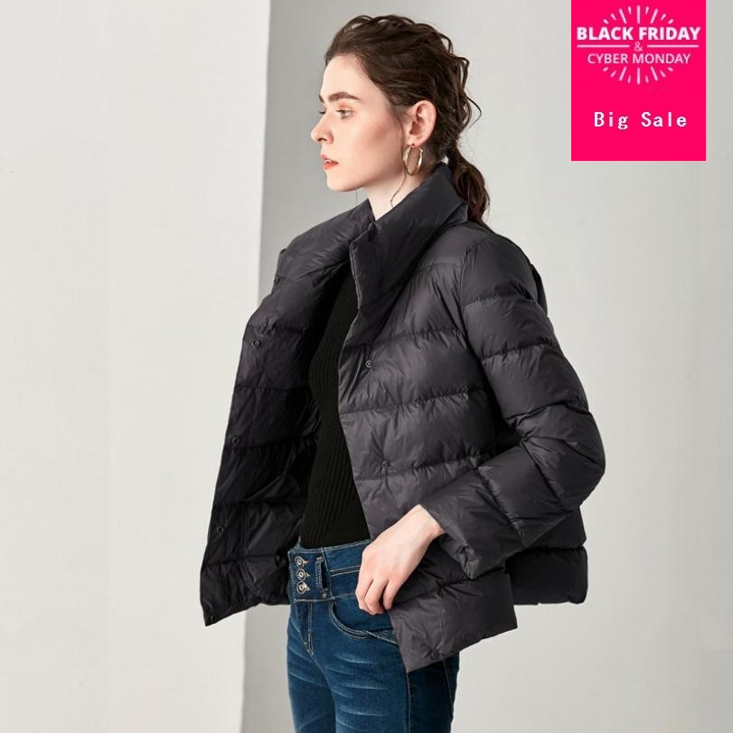 Winter fashion brand single breasted stand collar duck   down     coat   female elegant stitching short warm   down   parkas wq231 dropship