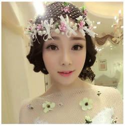2019 Новый фата белая шляпа сделанный вручную цветок из кристаллов голову цветок аксессуары для волос; свадебные повязку аксессуары