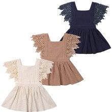 Детское платье для маленьких девочек кружевные вечерние платья с цветочным рисунком однотонное платье без рукавов