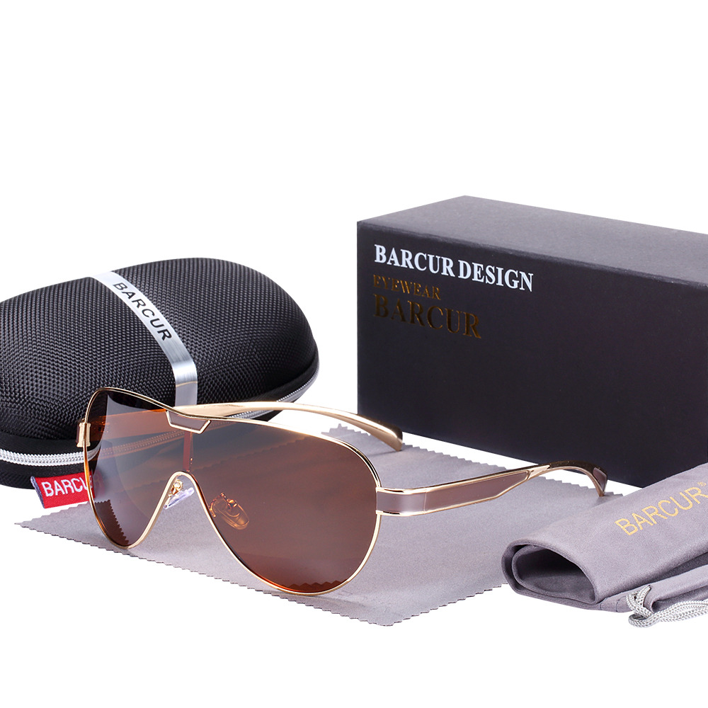 Sports Branded Polarized Sunglasses Brown