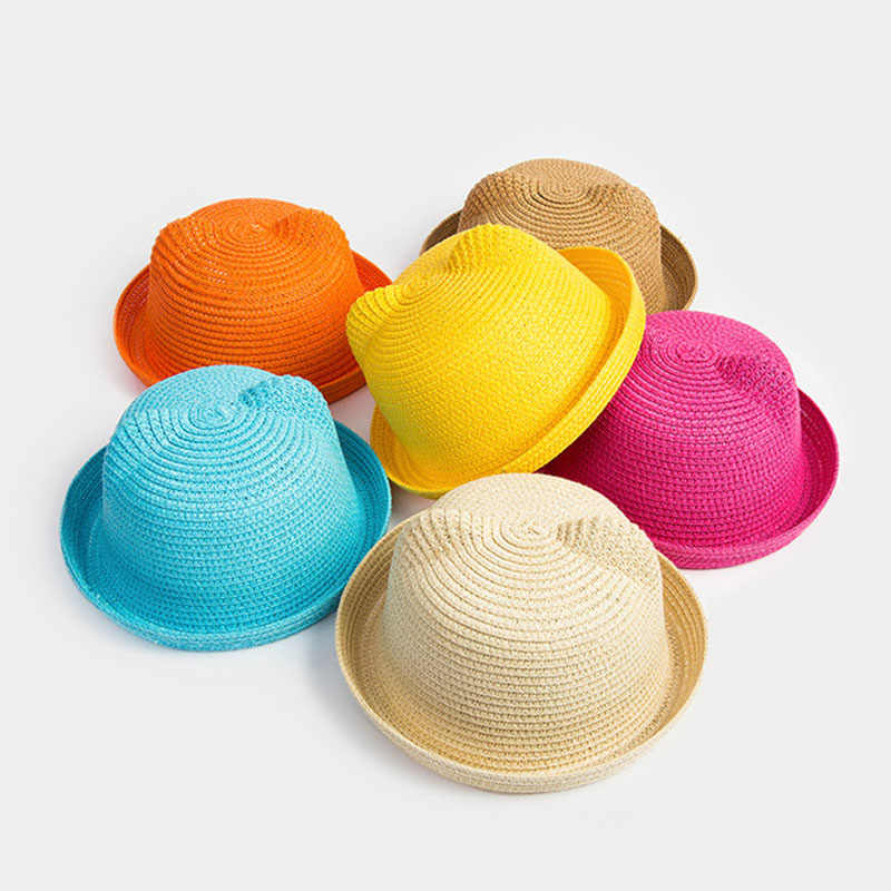 c5b9f5c462a Detail Feedback Questions about HOT Childish Ears Straw Hats Baby Hats For Girls  Bucket Hat Boys Cap Children Sun Summer Cap Kids Solid Beach Panama Caps on  ...