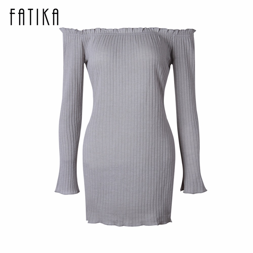 FATIKA 2017 Spring Autumn New Womens Sexy Mini Bodycon Knitted Dress Women Off The Shoulder Strapless Sweater Dress cute off the shoulder lemon dress for women