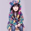Novo Casaco de Inverno Meninas Para Crianças Meninas Impressão de Lã Estilo Casual Com Capuz Outwear Menina Casaco Quente Crianças