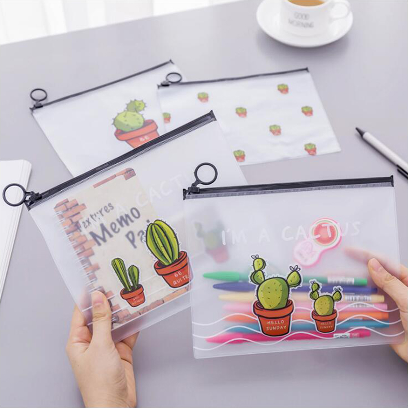 Japnese Pencil Case Scrub Cactus Ring Flat Pull Bag Translucent Pencil Bag Office Stationery And School Supplies 1PCS