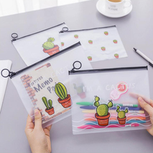 Japnese Pencil Case Scrub Cactus Ring Flat Pull Bag Translucent Office Stationery and School Supplies 1PCS