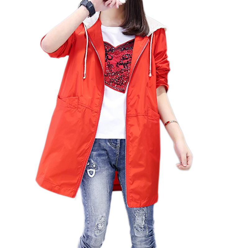 2019 Fashion New Women's Windbreaker Autumn Coat Women Loose Hooded Trench  Female Large Size Solid Color Couples Coats