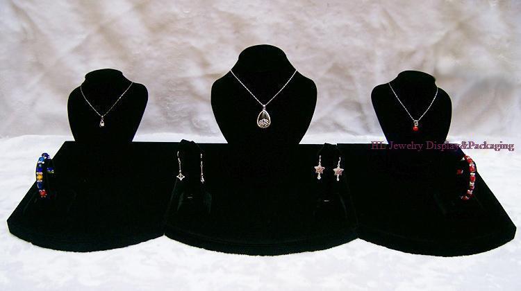 Présentoir de bijoux vitrines collier support de boucles d'oreilles support de Bracelet organisateur cas classique noir velours 80*35*25cm