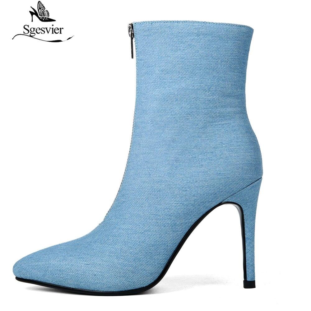 1694ea86fa4 Botas Nueva Sgesvier Tobillo Pasarela De 2019 Moda Denim Alto Primavera  Stiletto Tacón Azul Zapatos Mujer ...