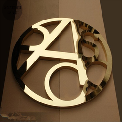 Venta de fábrica al aire libre golden Acero inoxidable Carta en 3d, color dorado pulido Acero inoxidable signos de tienda