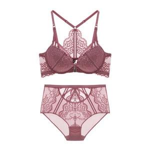 Image 4 - Varsbaby Women  Sexy Floral Lace Front Closure Underwear Y line Straps Bra Sets