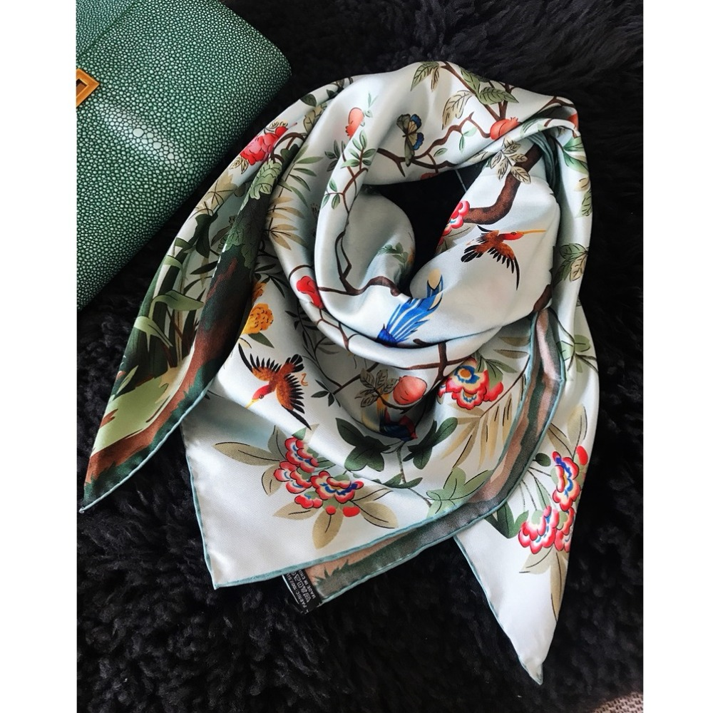 Spring Floral Large Square 100% Silk Scarf Shawl Foulard Hijab Head Scarves For Women 90*90cm
