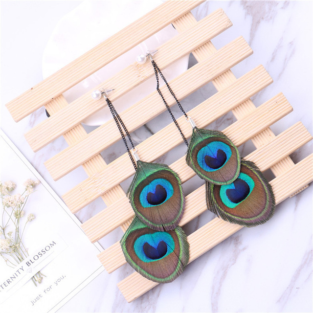 2c6c31762450 LE SKY Fashion New Style Peacock Feather Pearl Earrings Charm Drop Earrings  for Women Girl Jewelry Gift