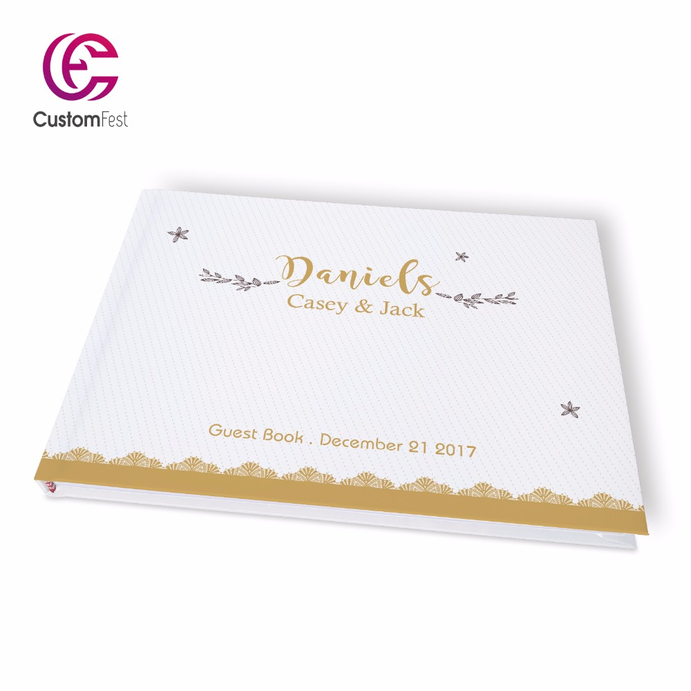 Free shipping Wedding gold decorated lace design flower personalized Guestbook   GB046