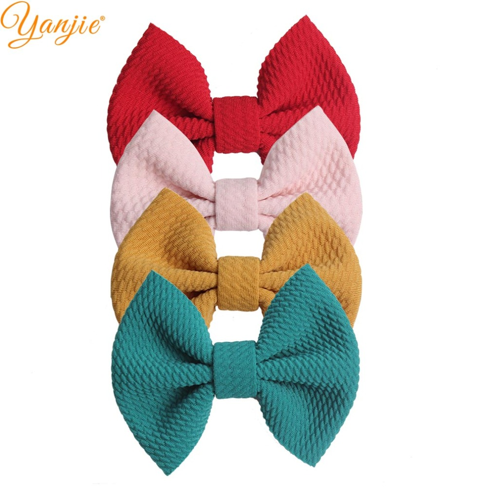 Hair Bows Clips For Kidls Headbands 4'' Waffles Bow Barrettes 2019 New Arrival Solid Girl Party DIY Hair Accessories Mujer