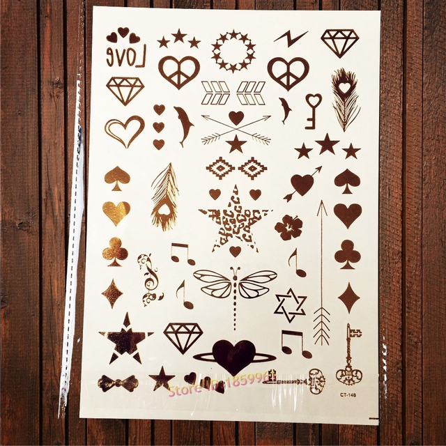 Us 087 Glitter Gold Tattoos Little Leuke Patroon Tattoo Op Hand Vinger Tatoeages Hart Dolfijn Diamant Melody Key Strik Dragonfly Ca148s In Glitter