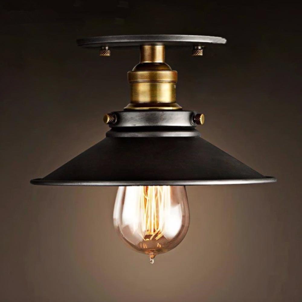 diseo luz de techo lmpara de techo redondo retro desvn vendimia industrial edison bombilla pantalla antiguos