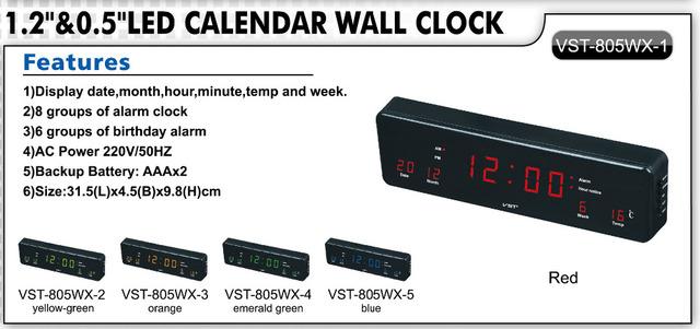 Digital Led Wall Clock With EU plug