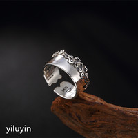 KJJEAXCMY boutique jewelryar S925 pure silver Xiangyun six words, real words, Daming charm, Thai silver personality opening love