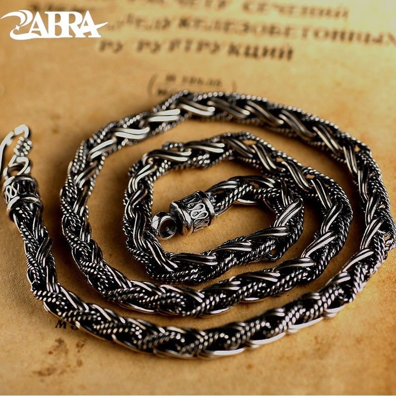 ZABRA Luxury Handmade Vintage Solid 925 Sterling Silver Necklace 6mm 55cm Long Chain Men Steampunk Style