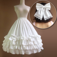 Lolita Long Petticoat Underskirt Waist Adjust 3 Layers Hoop Ruffle A Line Woman Wedding Gift Casual Petticoat butterfly bow