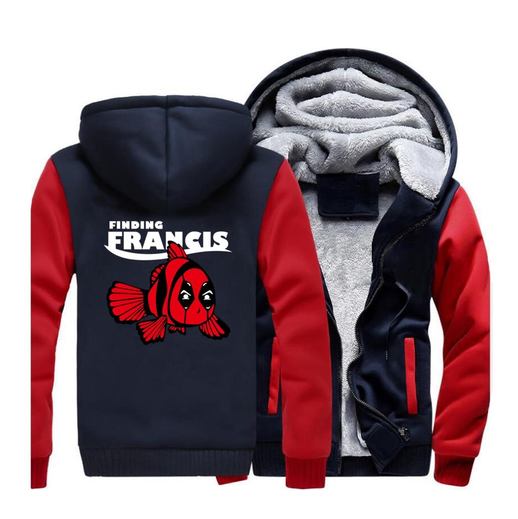 Deadpool Finding Francis Fish Streetwear Hoodies Sweatshirt Men Winter Fleece Thick Hooded Sportswear Coat Hoodie Funny Jackets