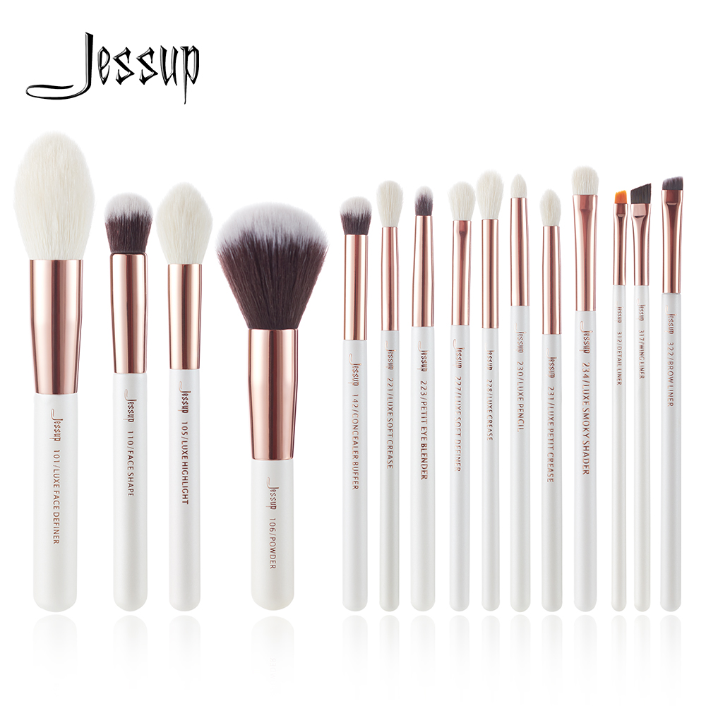 Jessup Perle Blanc/Rose Or Professionnel Maquillage Pinceaux Make up Brush Outils kit Fondation Poudre naturel-synthétique cheveux