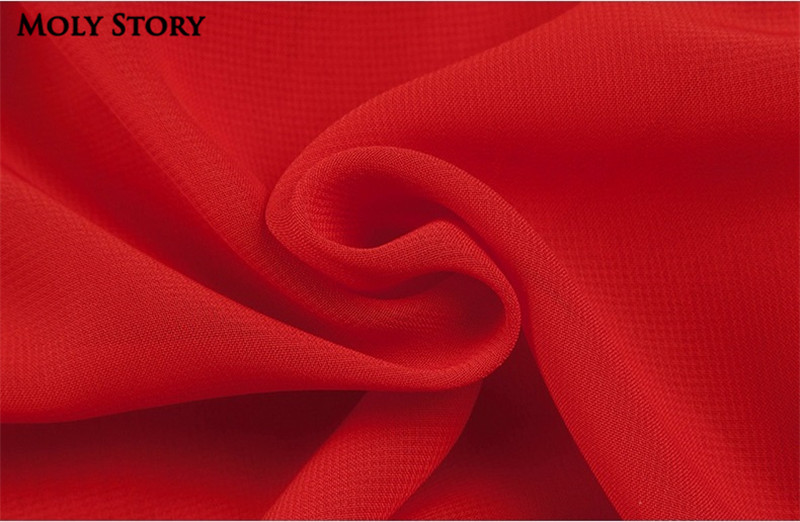 Super! Elegant Silk Red Pleated Dresses Cute Ruffle Long Dress Slim - Women's Clothing - Photo 5