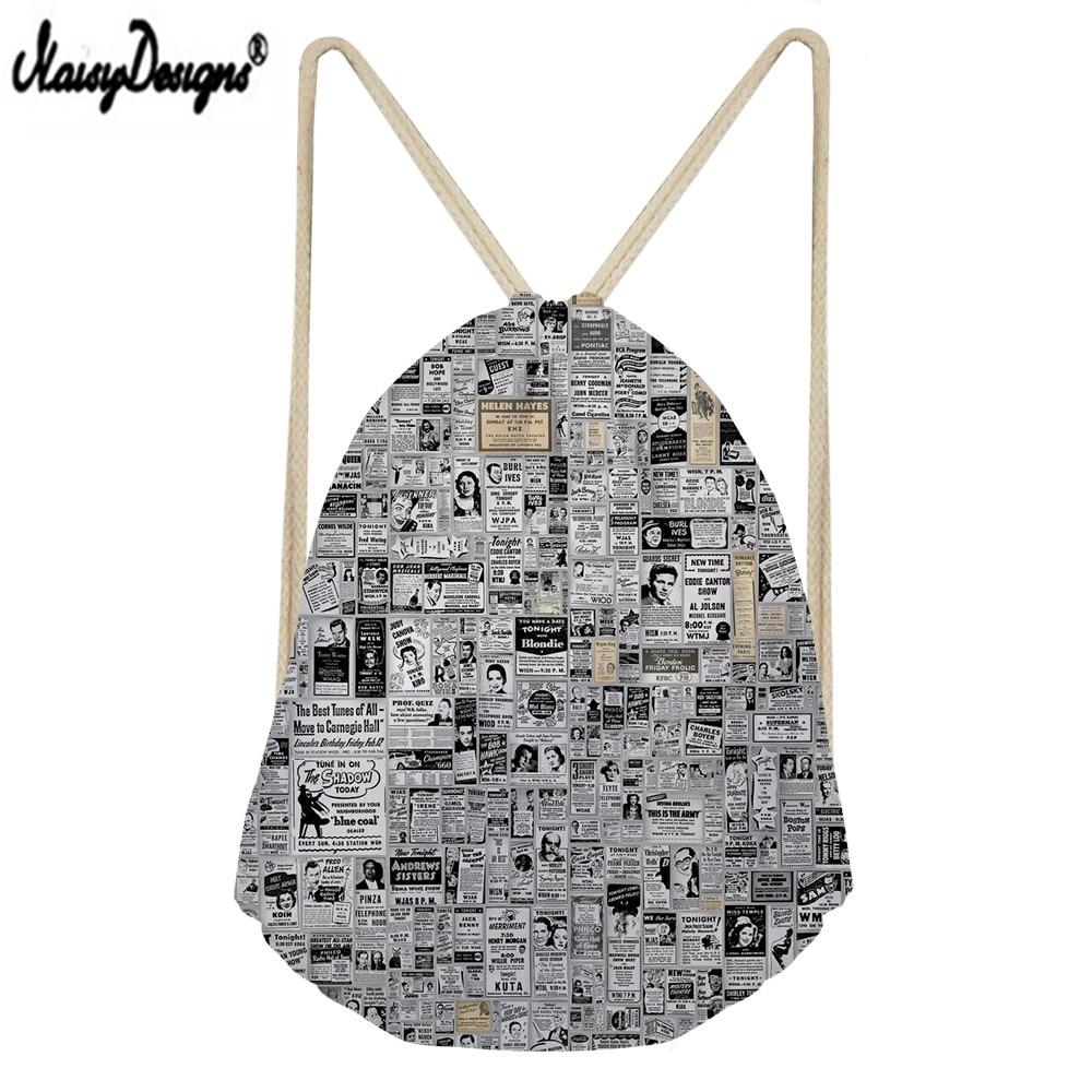 Noisydesigns Newspaper Print Custom portable Drawstring bag Men s shoes bag Ladies travel bag Boys fashions