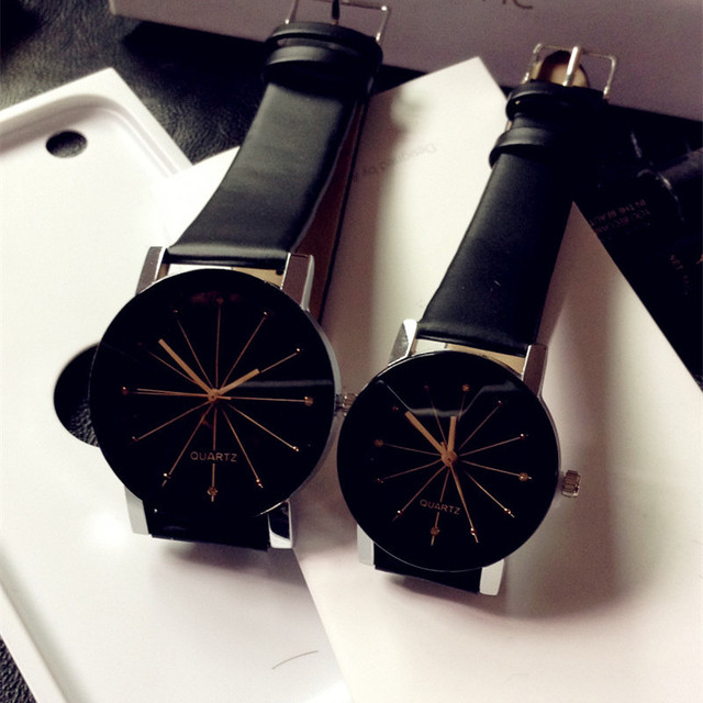 Couple Watch Relogio Feminino Women's Analog Quartz Dial Hours Men's Watch Leath