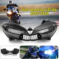 Dla 2003 2005 dla Yamaha Yzfr6 Yzf R6 Yzf R6 motocykl przedni reflektor reflektor reflektor Clear 2003 2004 2005 samochodów stylizacji na