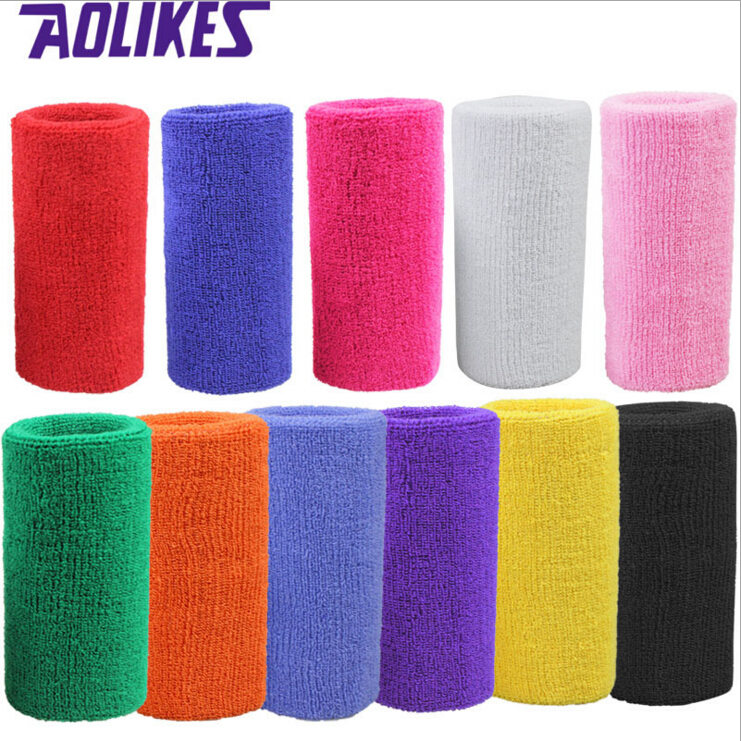 1 Pc 15*7.5 Cm Terry Cloth Wristbands Sport Sweatband Hand Band For Gym Volleyball Tennis Sweat Wrist Support Brace Wraps Guards
