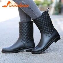 Купить с кэшбэком KARINLUNA New Fashion women's Rain Boots Wide Med Heels Solid Round Toe Shoes women's Mid Calf Boots Black Big Size 36-41