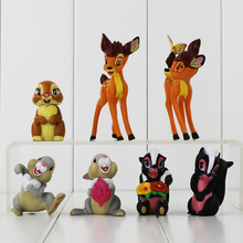 7pcs lot Bambi Deer Figure Rabbit and His Friends Thumper with Flowers PVC Action Figure Toys