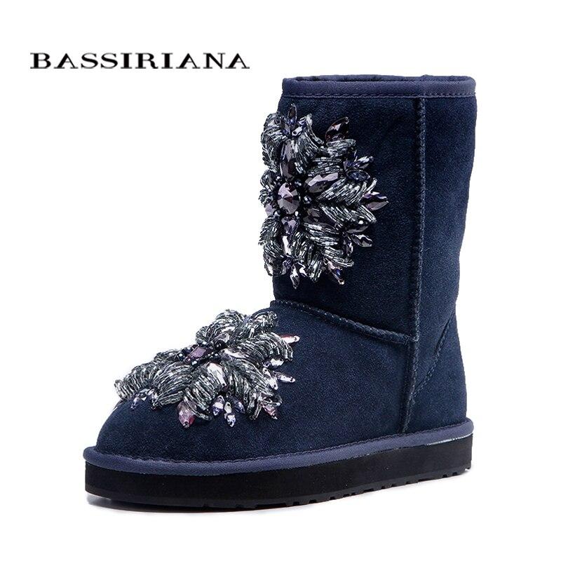 BASSIRIANA-delle donne di modo blu di pelle di pecora stivali da neve con la decorazione di cristallo Scarpe donna Libera di trasporto