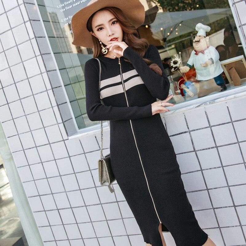 Front Slit Zipper Striped Autumn Knitwear O-neck Patchwork Sweater Dresses Women Sexy Elegant Warmth Vestidos Mujer