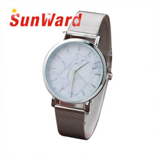 Sunward Relogio feminino Women Marble Surface Stainless Steel Band Quartz Movement Wrist Watch Fashion Horloge 17Apr26