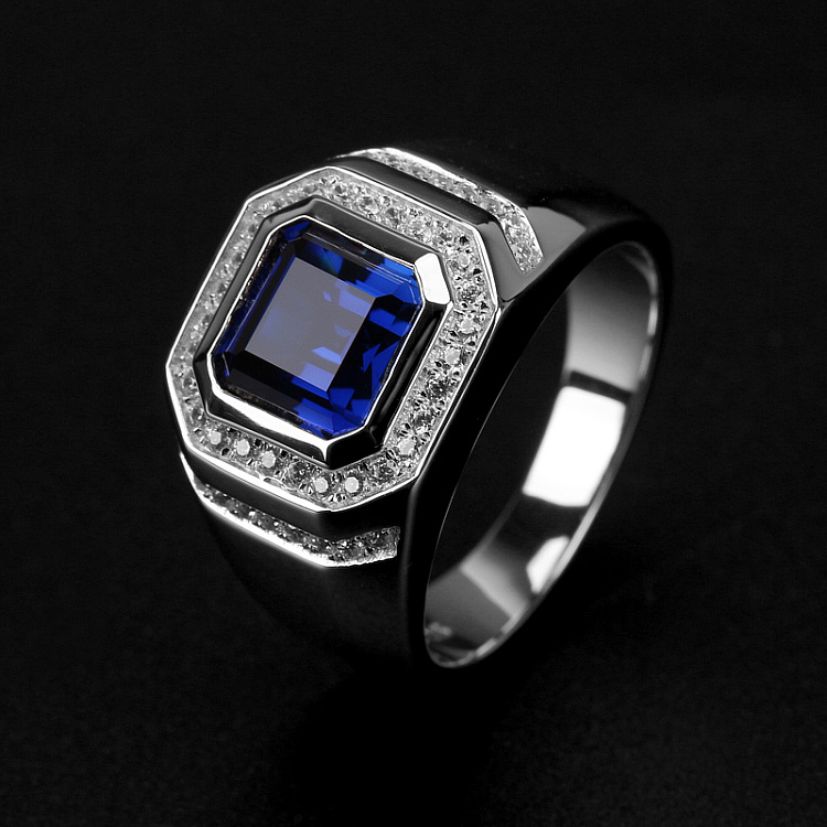 Statement male ring 925 Sterling silver 7mm Blue AAAAA Zircon cz Engagement Wedding Band Rings for men Finger Party JewelryStatement male ring 925 Sterling silver 7mm Blue AAAAA Zircon cz Engagement Wedding Band Rings for men Finger Party Jewelry