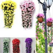 Violet Artificial Flower Simulation Wall Hanging Basket Flower Orchid Fake Silk Vine Flowers