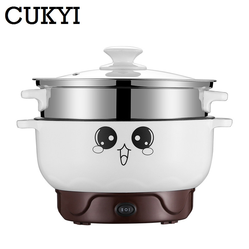 CUKYI Small power electric cooker Mini Hot pot multi-function electric cooker pot dormitory skillet pot noodle pot room drg c12k1 multi function electric hot pot electric skillet stainless steel multi cooker houshold mini cooker portable hot pot