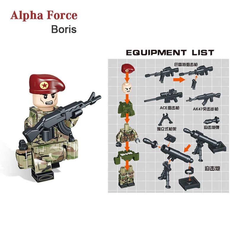 Kitoz русская альфа-сила строительный блок игрушка мини военный солдат; Армия Набор фигурок кирпич совместим с Lego Игрушка для мальчиков детей