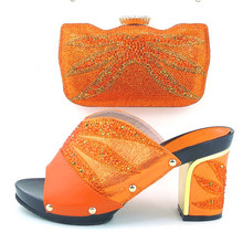 New Arrival African Wedding Shoe And Bag Sets Fashion orange High Heels Women Pumps Shoes Italian Matching Shoe And Bag Set