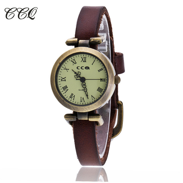 CCQ Brand Fashion Roma Vintage Cow Leather Bracelet Watch Casual Women Wristwatc