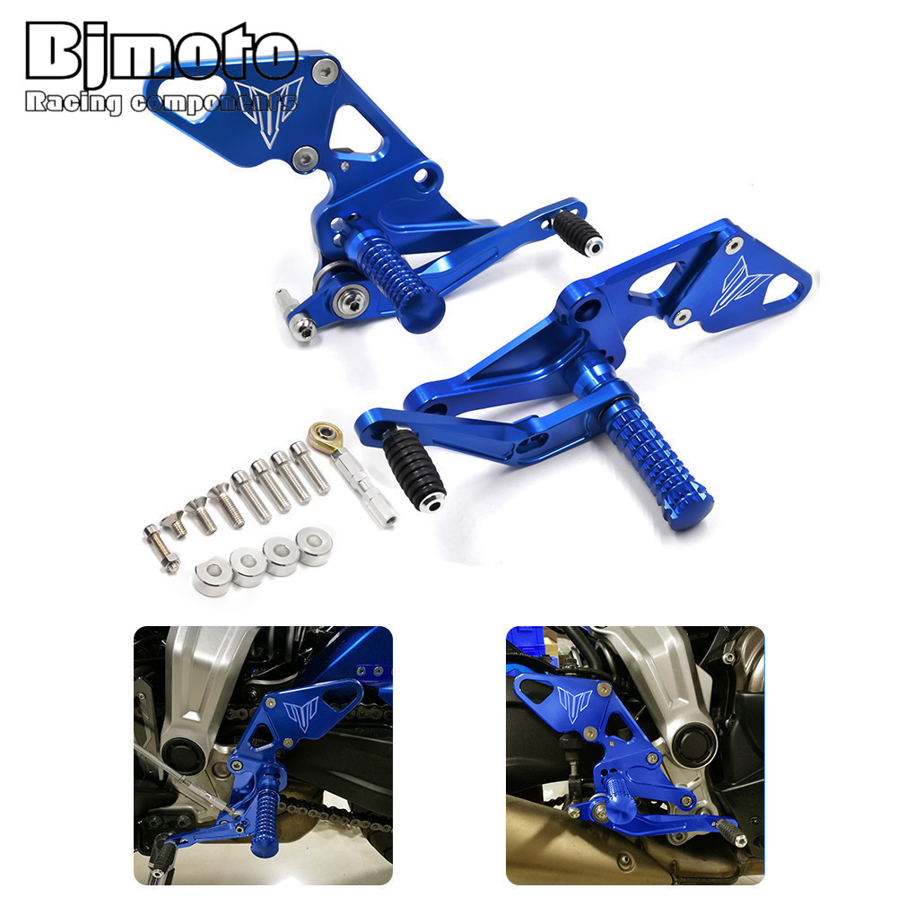 ARS-MT07B New MT-07 Motorbikes CNC Racing Adjustable Footrests Left&Right Rear sets Foot Pegs For Yamaha FZ07 /MT07 2014-2017 for yamaha mt 07 mt 07 fz07 mt07 2014 2015 2016 accessories coolant recovery tank shielding cover high quality cnc aluminum