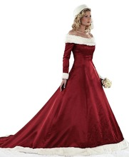 2017 New Women's Christmas Wedding Dresses Plus Size Long Sleeve Winter Satin With Faux Fur Bridal Gown