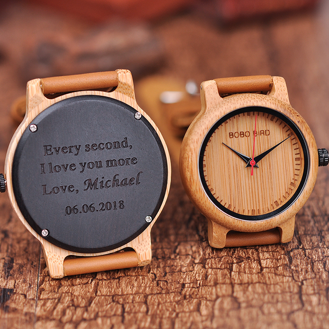 Engraved Watches For Men Women Lovers' Anniversary Engagement Gift Handmade Bamboo Personalized Watch relogio masculino A09A10 3